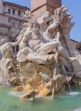 ROMA ITALIEN, 11 SEPTEMBER 2016 Fontana dei Quattro Fiumi i mitt av piazza Navona, Rome Royaltyfria Bilder