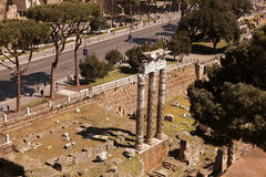 ROMA, ITALY, APRIL 11, 2016 :  Scenic view over the ruins of the Royalty Free Stock Photos