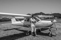 ROMA, ITALY - JULY 2017: Courageous young man pilot on a light aircraft Tecnam P92-S Echo Royalty Free Stock Image