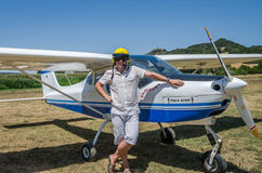 ROMA, ITALY - JULY 2017: Courageous young man pilot on a light aircraft Tecnam P92-S Echo. Courageous young man pilot on a light aircraft Tecnam P92-S Echo Royalty Free Stock Image