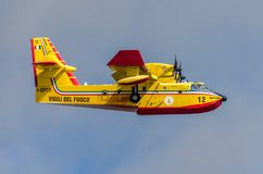 ROMA, ITALY - JULY 2017: Firefighting aircraft Bombardier CL-415 in an emergency situation, during a natural disaster, gathers wat Stock Photo