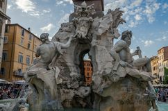 ROMA, ITALY - JULY 2017: Fountain of four rivers in Rome in the square of Navona Royalty Free Stock Photos