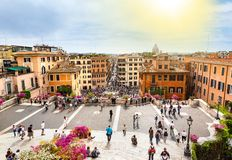 Tourists on the Plaza of Spain in Rome royalty free stock photos