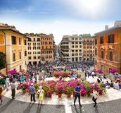 Tourists on the Plaza of Spain in Rome stock images