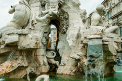 ROMA, ITALY-OCTOBER 12,2012: Fontain dei quattro fiumi Fotografia Stock Libera da Diritti