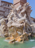 ROMA, ITALY, 11 SEPTEMBER 2016. Fontana dei Quattro Fiumi in centre of Piazza Navona, Rome. Architecture; Baroque; Italy; obelisk; sculpture; tourism; water Royalty Free Stock Images