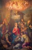 Roma - l'adorazione della pittura dei pastori da Durante Alberti (1538 - 1613) in chiesa Chiesa Nuova (Santa Maria in Vallicella) Immagine Stock