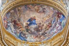 Roma - l'affresco barrocco del presupposto di vergine Maria in chiesa Chiesa Nuova (Santa Maria in Vallicella) Fotografia Stock