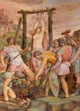Roma - l'affresco della st Barbara del martyriumof da Michiel Coxie in Anima del dell di Santa Maria della chiesa Fotografia Stock