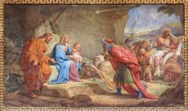 Roma - la adoración del fresco de unos de los reyes magos en Basilica di Sant Agustín (Augustine) por la forma 19 de Pietro Gagli Imagenes de archivo
