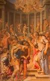 Roma - la pintura de San Pablo antes del Ananias de Giorgio Vasari en la iglesia San Pedro en Montorio a partir del 16 centavo fotografía de archivo