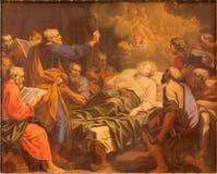 Roma - la pittura del Dormition di vergine Maria da Angelo Masserotti (1645 - 1723) in Di Santa Maria Annunziata di Chiesa della  Immagine Stock Libera da Diritti