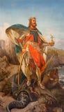 Roma - la pittura della st Olav il re della Norvegia in dei Santi Ambrogio e Carlo al Corso della basilica della chiesa Immagini Stock