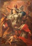Roma - la pittura di Cristo con lo sts Ambrose e Charles in dei barrocco Santi Ambrogio e Carlo al Corso della basilica della chi Fotografia Stock Libera da Diritti