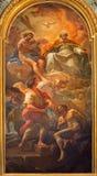 Roma - la trinidad santa de la pintura y la liberación del un esclavo en el degli Spanoli de Santissima Trinita del della de Chie Foto de archivo libre de regalías