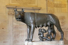 Roma legend. Remus and Romulus are former chiefs of Roma. Legend says that they were abandoned by their mother and fed by a female woolf. Here, statue in the royalty free stock photography