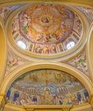 Roma - mosaico di Gesù l'insegnante a partire dal IV secolo e cupola ed altare principale dalla chiesa di Santa Pudenziana Immagini Stock