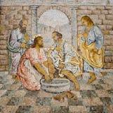 Roma - mosaico do lavagem dos pés Imagem de Stock