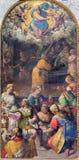 Roma - nacimiento de nuestra pintura de la señora en los di Santo Spirito de Chiesa de la iglesia en Sassia de Livio Agresti (150 Imagen de archivo libre de regalías