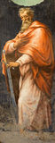 Roma - o fresco de St Paul o apóstolo da capela lateral da natividade no dei Monti de Trinita do della de Chiesa da igreja de 16  Fotografia de Stock