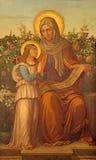 Roma - a pintura de St Ann com a Virgem Maria no del Sacro Cuore de Chiesa di Panaceia Signora da igreja Foto de Stock Royalty Free