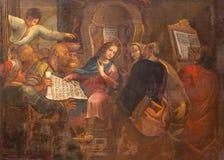 "Roma - pintura doce viejo Jesús en el templo en la iglesia San Pedro en Montorio de Antoniazzo Romano (c †1430 ""c 1510 imagen de archivo"
