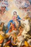 Roma - pittura del matrimonio mistico di St Robert alla nostra signora da Giovanni Odazzi (1663 - 1731) Immagine Stock Libera da Diritti