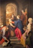 Roma - pittura di visitazione da Federico Barocci (1528 - 1612) in chiesa barrocco Chiesa Nuova (Santa Maria in Vallicella) Fotografia Stock Libera da Diritti