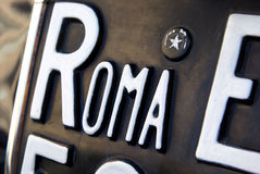 Roma plate. Detail of a registration licence plate from Roma Stock Photos