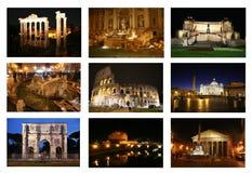 Roma por el collage de la noche Imágenes de archivo libres de regalías