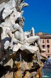 Roma, quadrado de Navona, escultura de Ganges do deus do rio fotografia de stock royalty free