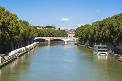 Roma. River around Rome and the Eternal City Royalty Free Stock Image