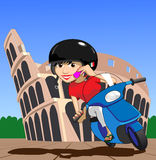 Roma Scooter Girl. Pretty Italian girl on a scooter drives past the colosseum in Roma (Rome), on her mobile phone royalty free illustration