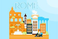 Roma, señales del viaje, ejemplo del vector de la arquitectura de la ciudad en estilo plano stock de ilustración