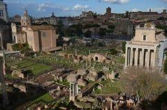 Romański forum, historyczny miejsce, miasto, antyczny Rome, obszar miejski Zdjęcie Royalty Free