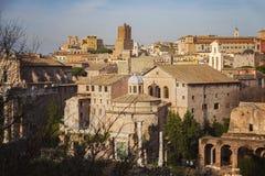 Romański forum i miasto Rzym Fotografia Stock
