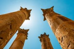 Romańskie kolumny w Jerash Gerasa, Jordania Fotografia Stock