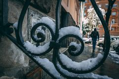 Roma Snowfall. Iron bars on Roman stairs near the Vatican, covered in snow Royalty Free Stock Photo
