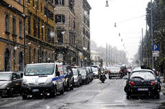 Roma sotto neve pesante Fotografie Stock