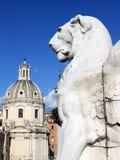 Roma: statua gigante del leone nel centro storico Fotografia Stock Libera da Diritti