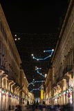 Roma Street och planetariet Art Light, Turin Arkivfoto