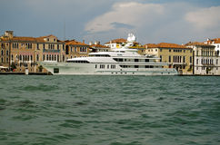 RoMa super yacht, Venice. VENICE, ITALY - JUNE 6: The millionaire's super yacht RoMa moored in Venice on June 6 2013.  The yacht and crew are hired by many Royalty Free Stock Photos