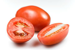 Roma tomatoes. – shallow DOF on the cuts royalty free stock photography