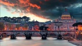 Roma - Vaticano en la puesta del sol, lapso de tiempo metrajes