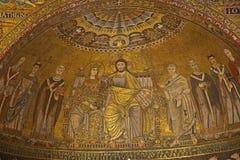 Roma - vecchio mozaik di Mary e di Jesus Fotografia Stock Libera da Diritti