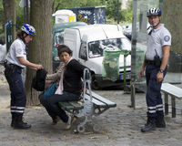 Roma Women Searched by French Police Stock Photos