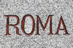 Roma Word Carved in Steen Stock Fotografie
