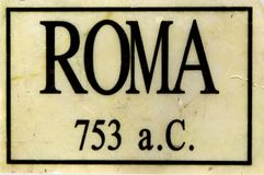 Roma writing on a marble tile with year of city fundation Royalty Free Stock Photos