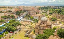 Roma zadasza widok od Vittoriano pałac Zdjęcie Royalty Free