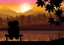 Romaans bij zonsondergang, Vectorillustraties Stock Afbeeldingen